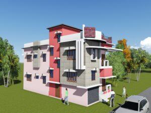 پروژه آماده طراحی معماری ویلایی مسکونی 3 طبقه با Revit